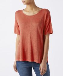 Colette coral linen blend T-shirt