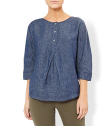 Violet indigo pure linen blouse