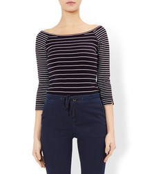 Campbell navy cotton stripe top