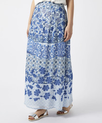 Riley blue print maxi skirt