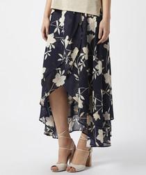 Maria navy floral print hi-low skirt