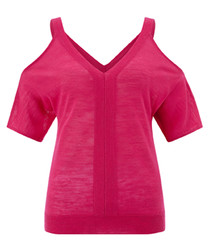 Canada fuchsia cold-shoulder blouse