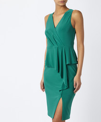 Sheila green jersey wrap front dress