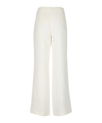 Lola white pure linen wide-leg trousers