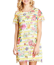 Ivory butterfly floral print dress