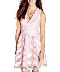 Pink fishnet stripe pattern mini dress