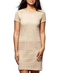 Beige textured mini shift dress