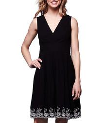 Black v-neck border design mini dress