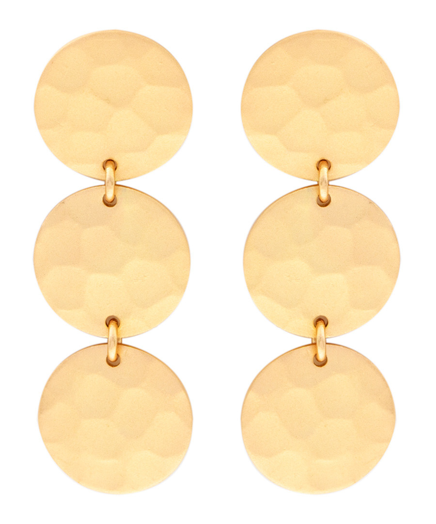 Marigold gold-plated disc earrings Sale - sole du soleil