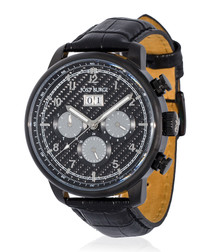 Montesquieu black leather watch