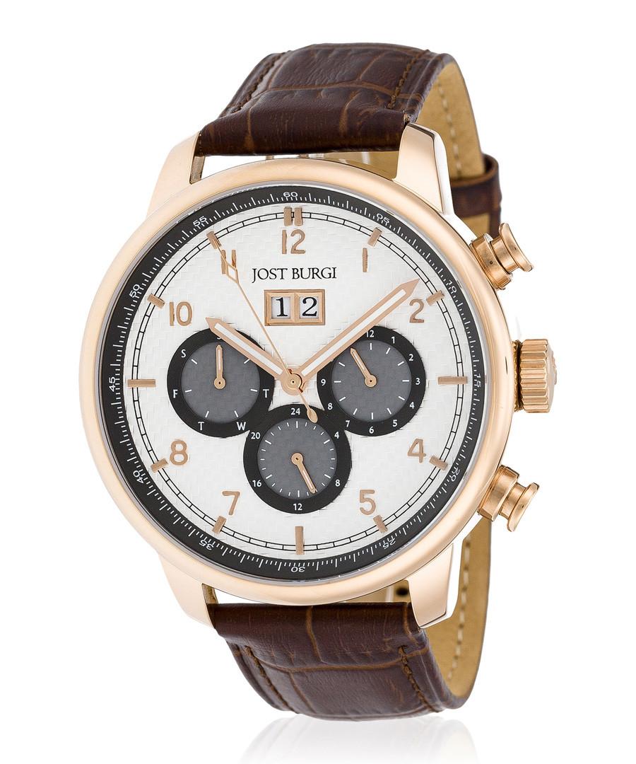 Montesquieu rose gold-tone & brown watch Sale - jost burgi
