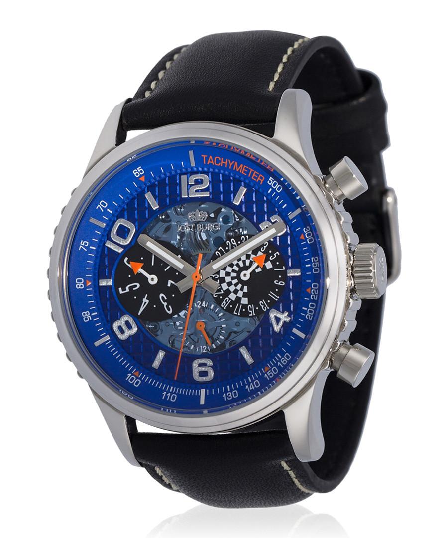 Racing silver-tone & black leather watch Sale - jost burgi