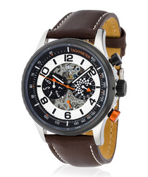 Racing silver-tone & brown leather watch