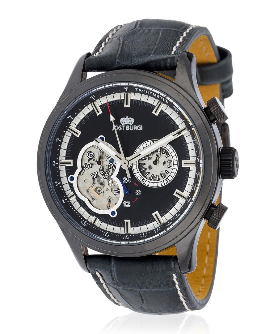 Iconic black leather watch Sale - jost burgi