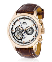Iconic rose gold-tone tan leather watch