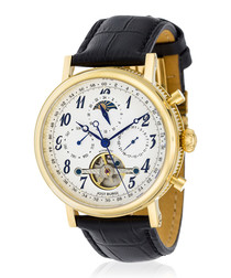 Millesime gold-tone black leather watch