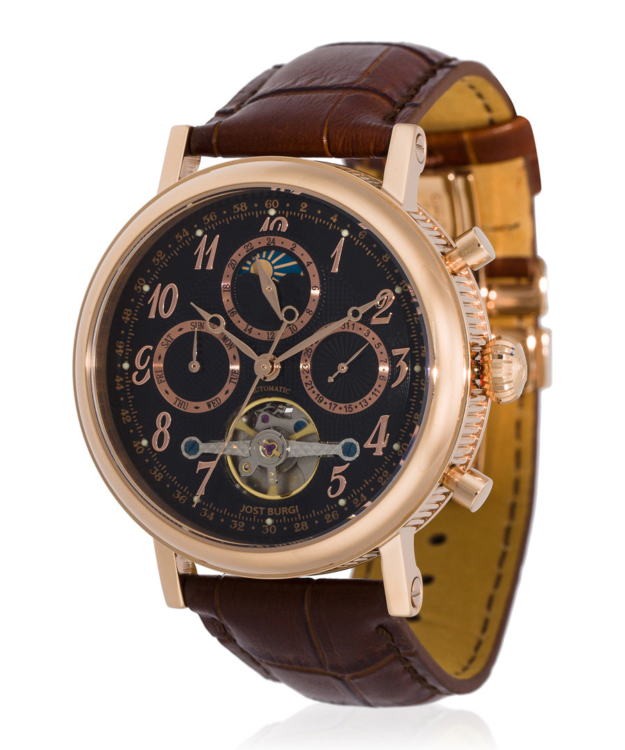 Millesime rose gold-tone & brown watch Sale - jost burgi