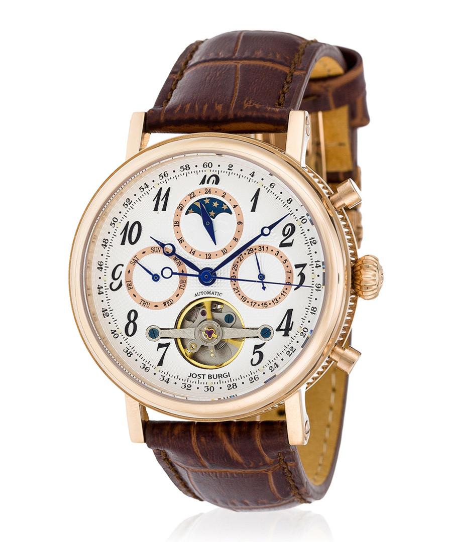 Millesime rose gold-tone & brown watch Sale - jost burgi