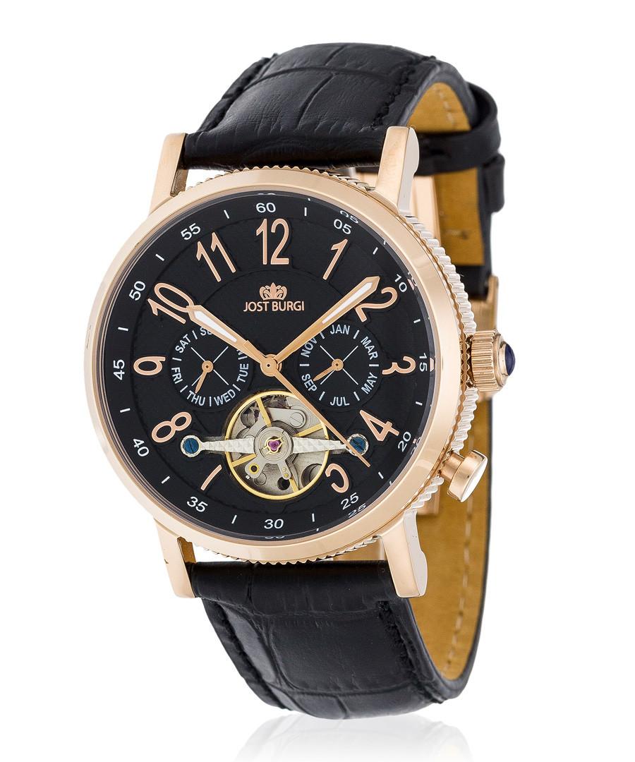 Revone rose gold-tone & black watch Sale - jost burgi
