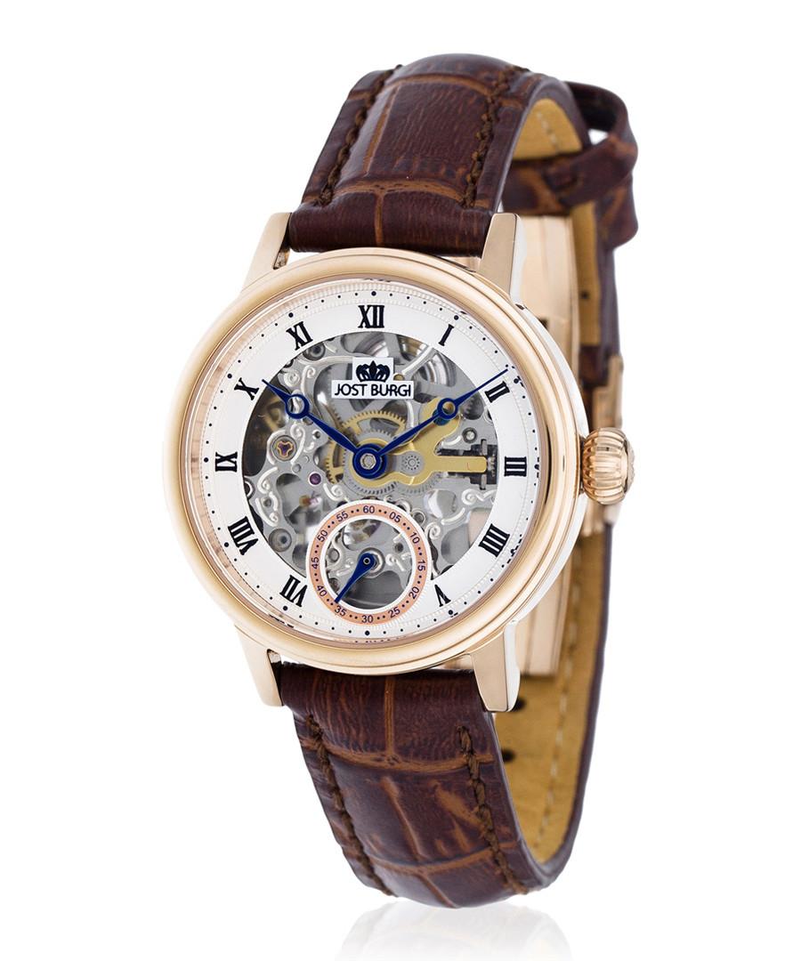 Legacy Skelette rose-tone & brown watch Sale - jost burgi