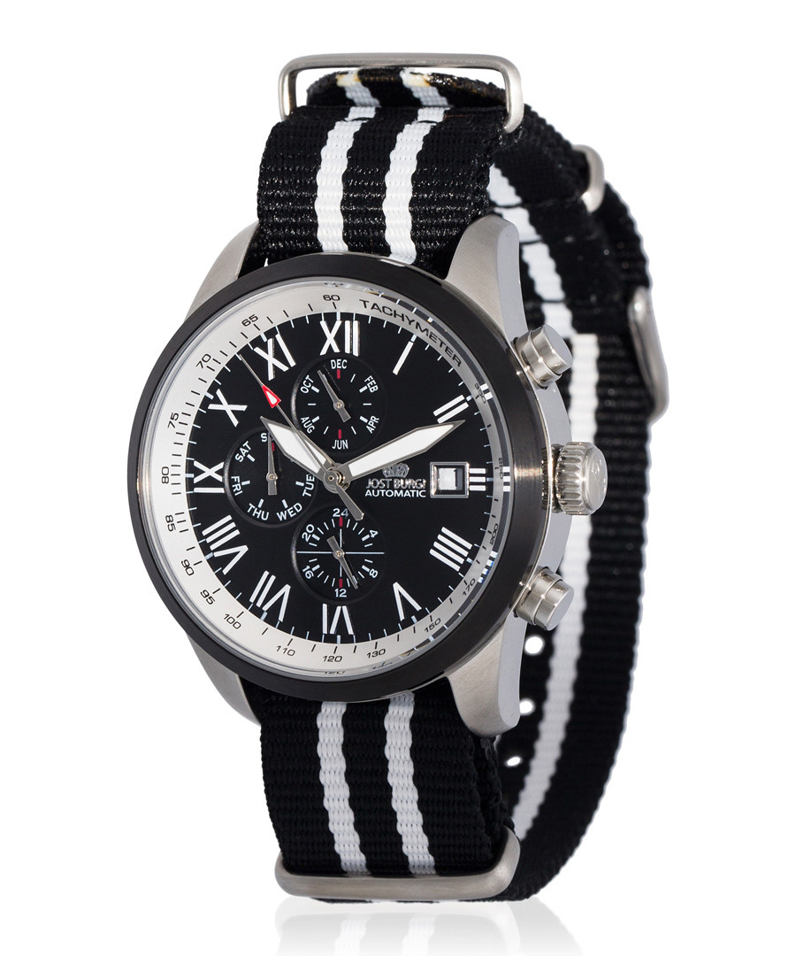 Legende silver-tone & black nylon watch Sale - jost burgi