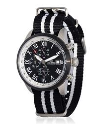 Legende silver-tone & black nylon watch