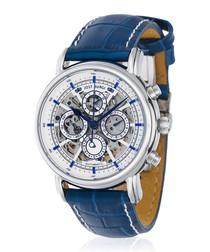 Lugano silver-tone & blue leather watch