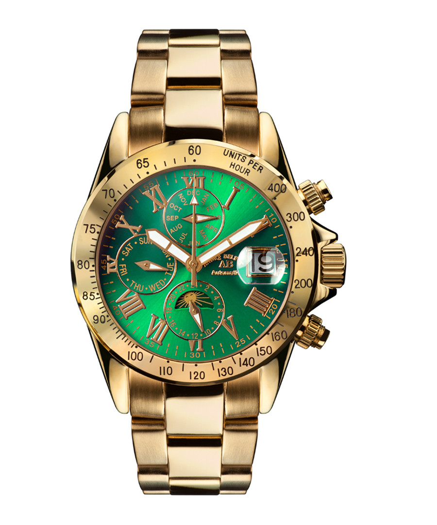 Le capitaine gold-tone & green steel watch Sale - andre belfort