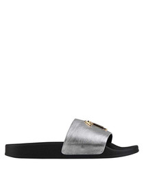Black & silver-tone leather slip-ons
