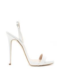 Sofia white leather heel sandals