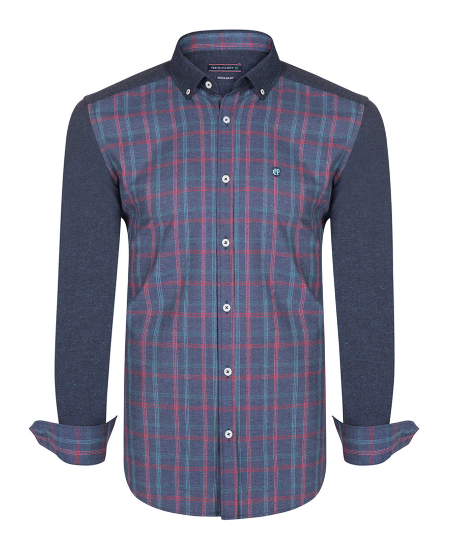 Navy red & green pure cotton shirt Sale - felix hardy