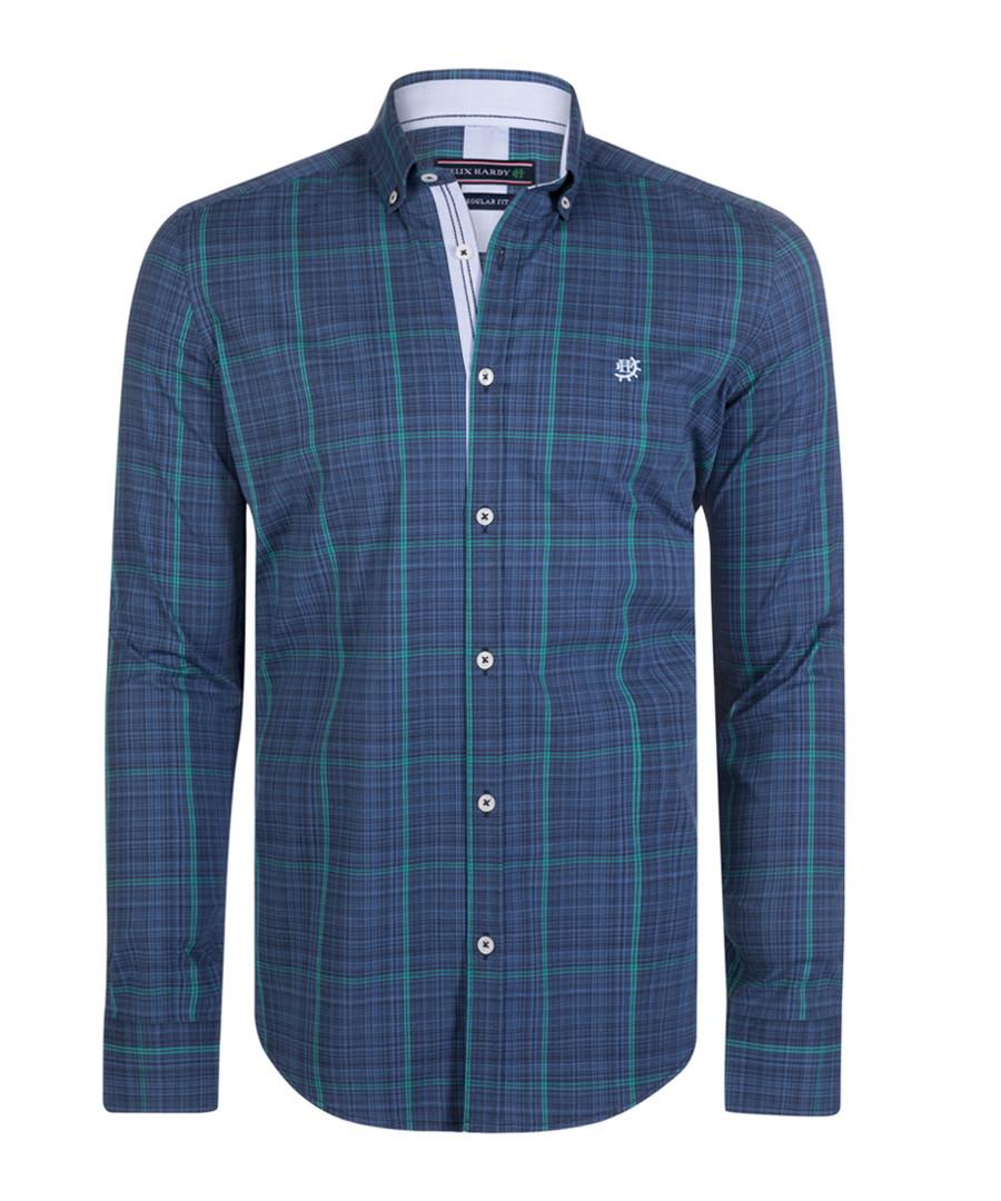 Navy & mint pure cotton shirt  Sale - felix hardy