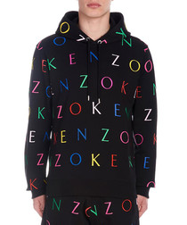 Black pure cotton letter hoodie