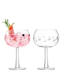 2pc Cube-cut gin balloon glass set