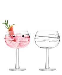 2pc Dash-cut gin balloon glass set