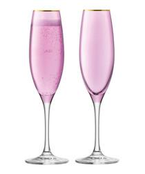 2pc Rose sorbet champagne flute set