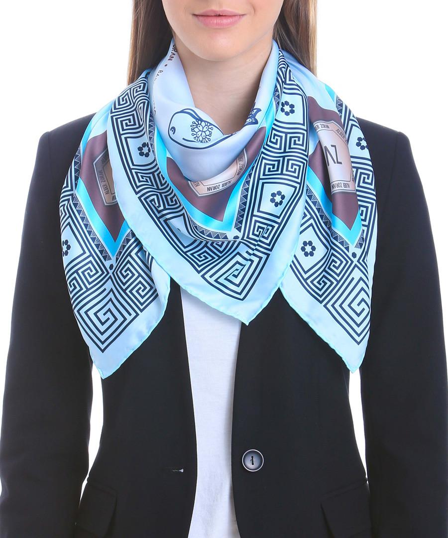 Acowboy blue print square scarf Sale - alber zoran