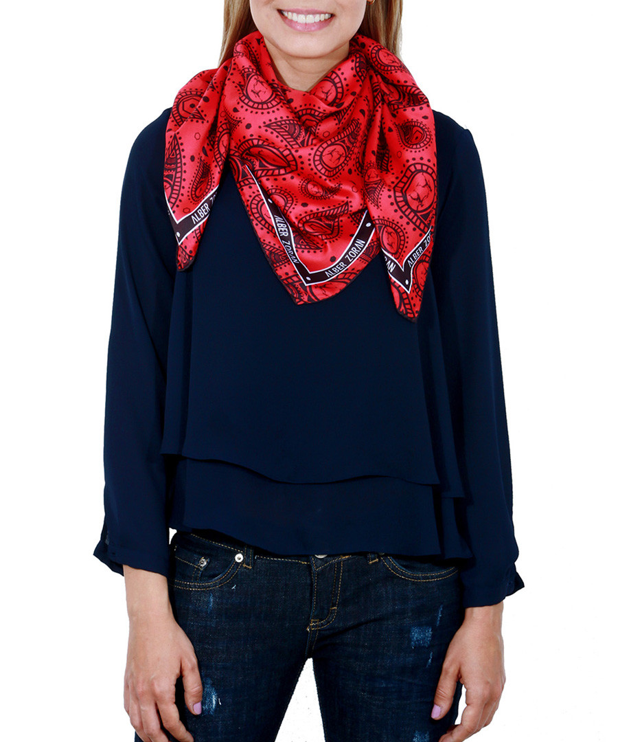 Cachemira red print square scarf Sale - alber zoran