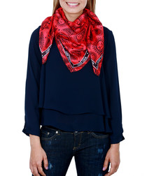 Cachemira red print square scarf