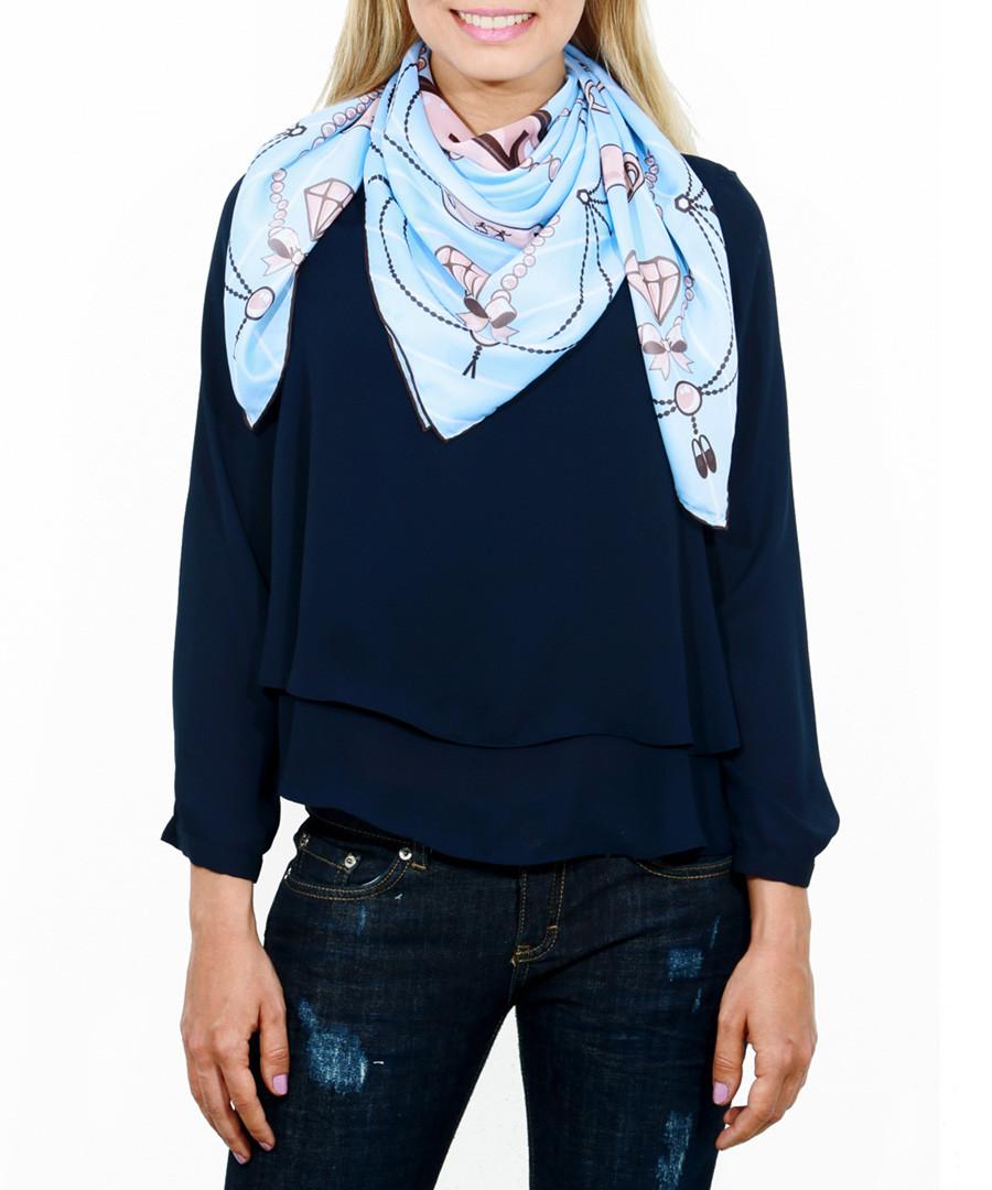 Charms blue print square scarf Sale - alber zoran