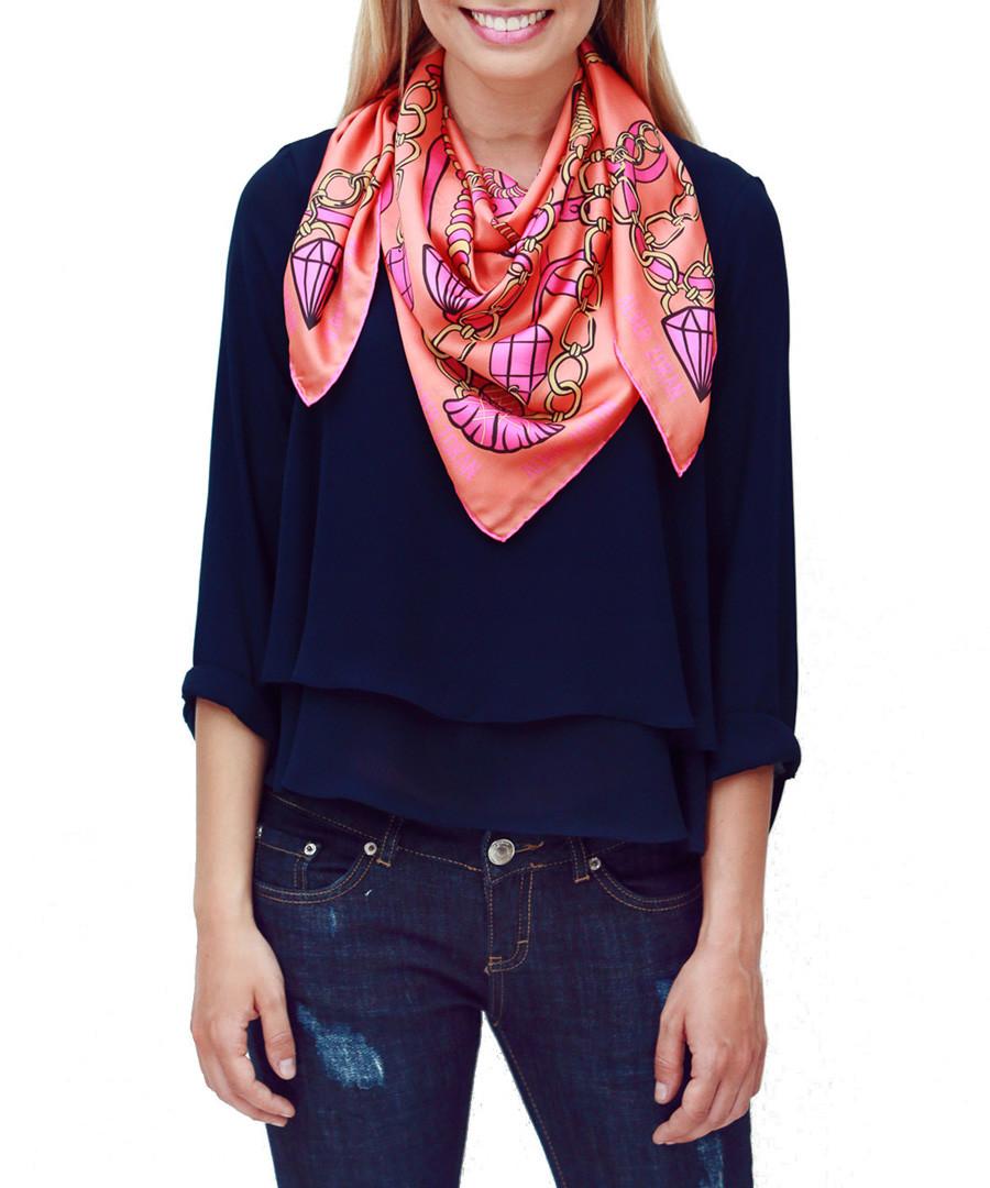 Diamond coral & yellow square scarf Sale - alber zoran