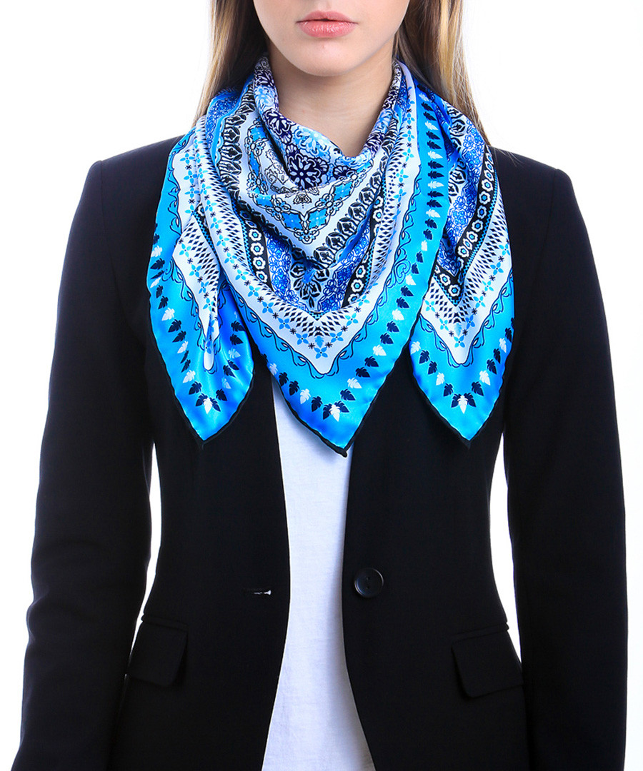 Aransas blue print square scarf Sale - alber zoran