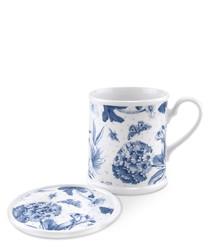Portmeirion botanic blue mug & coaster