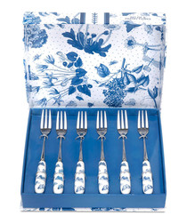 6pc Portmeirion botanic blue pastry forks