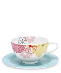 4pc Portmeirion crazy daisy cup & saucers