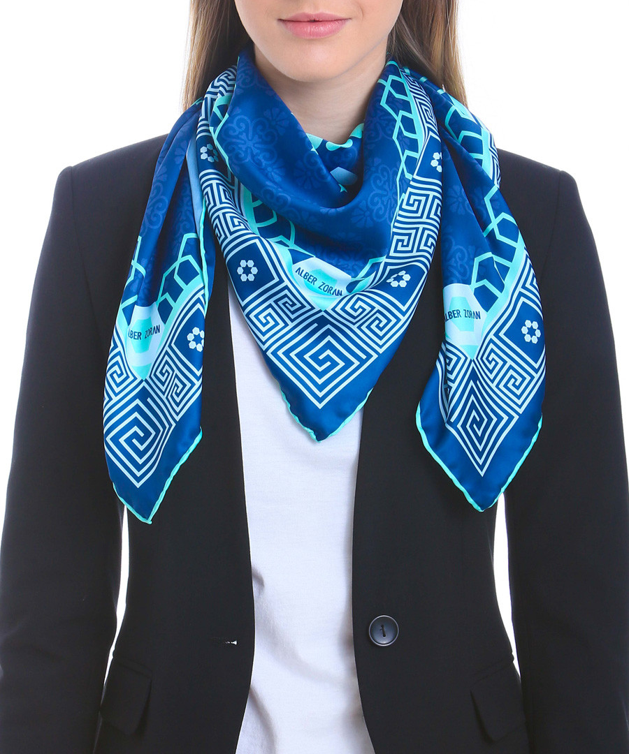 Andreafsky blue print square scarf Sale - alber zoran