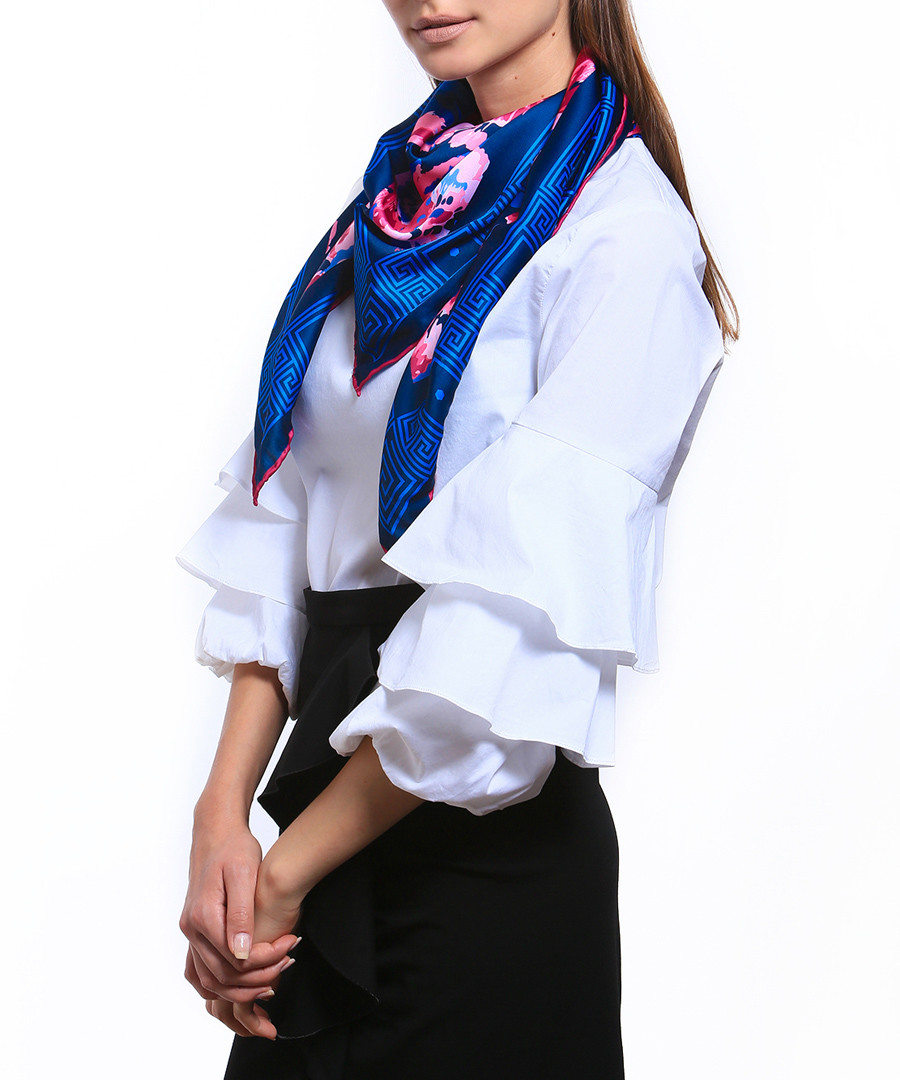 Flowers pink & blue print square scarf Sale - alber zoran
