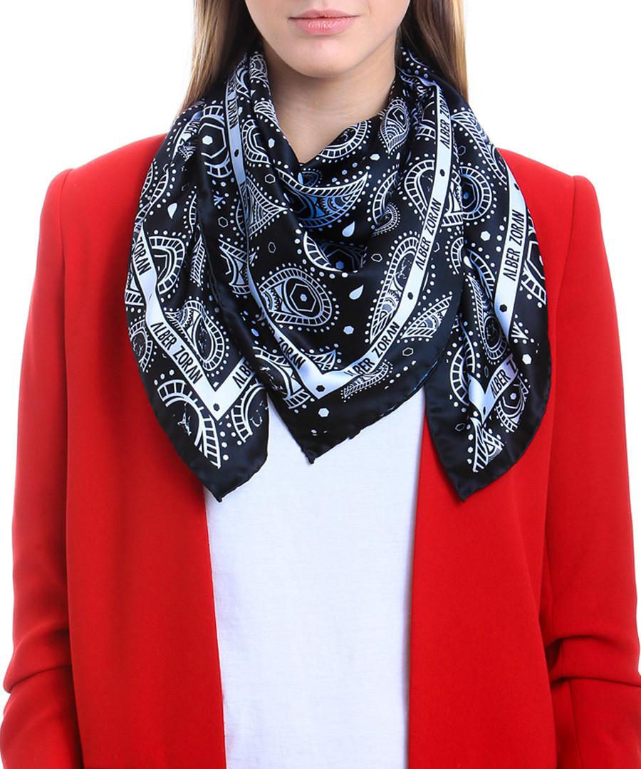 Cachemira black print square scarf Sale - alber zoran