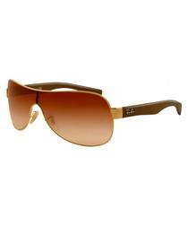 Gold-tone & brown gradient sunglasses