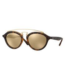 Havana gold-tone mirror sunglasses